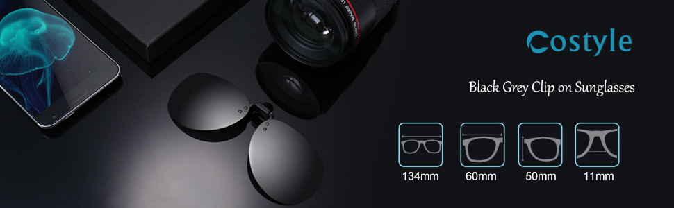 Costyle Black Grey Polarized Clip on Plastic Sunglasses