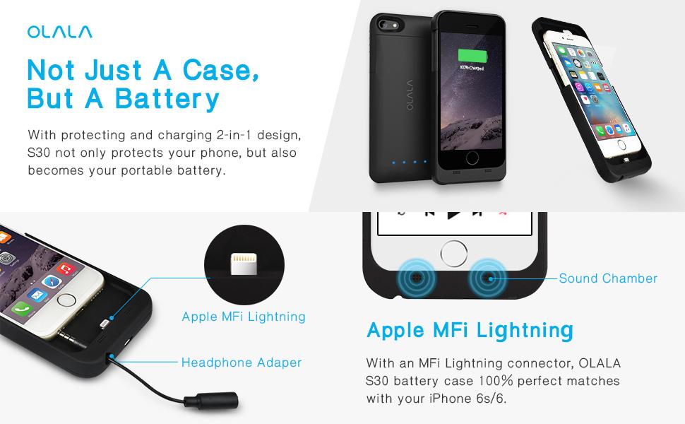 Amazon com: iPhone 6 / 6s Battery Case, OLALA S30 3200mAh
