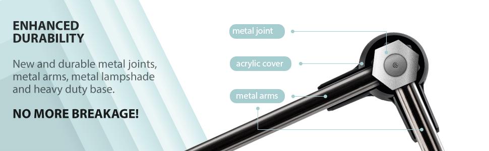 durable metal lamp joints swing arm desk lamp swivel shade
