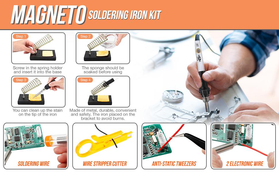 soldering iron and soldering wire, a solder sucker, pump for desoldering,  soldering tips