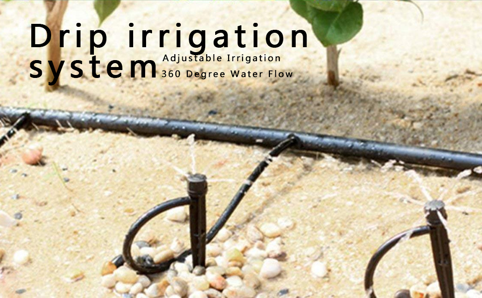 Vegetable Gardens Adjustable 360 Degree Water Flow Drip Irrigation System for Flower Beds Support Stakes QMOEH Drip Emitters 50 + 50pcs Herbs Gardens. Perfect for 4mm // 7mm Tube