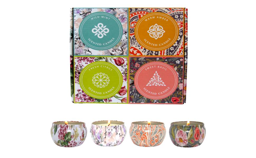 T&H set4 aromatherapy tin candle