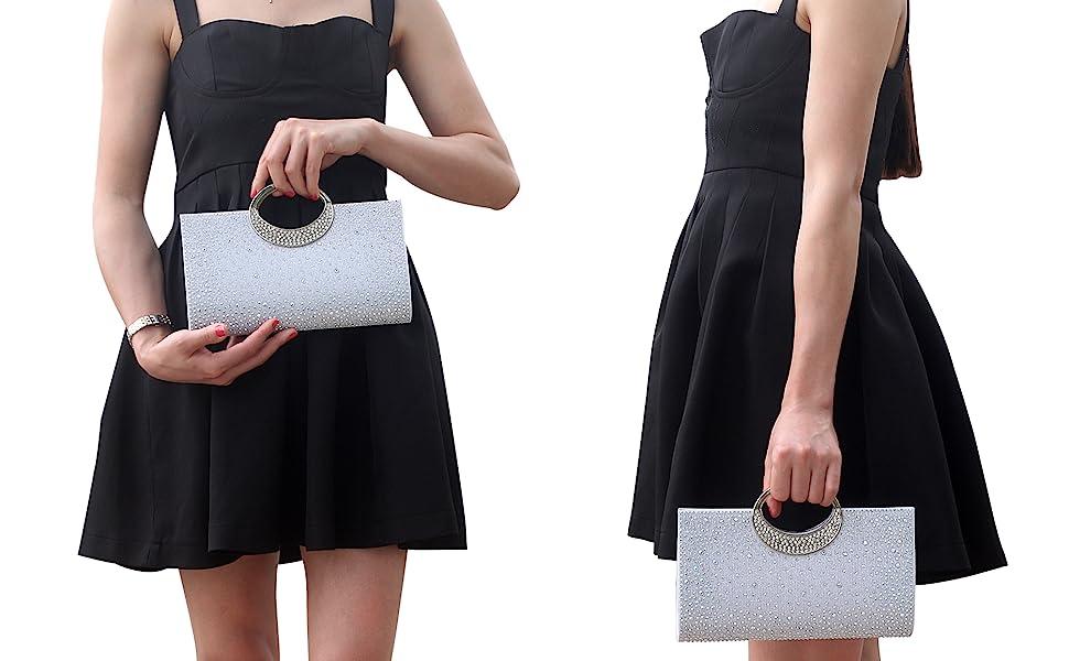 JOANNA HOPE SATIN PRINT PARTY WOMEN CLUTCH BAG REMOVABLE SHOULDER STRAP STYLE