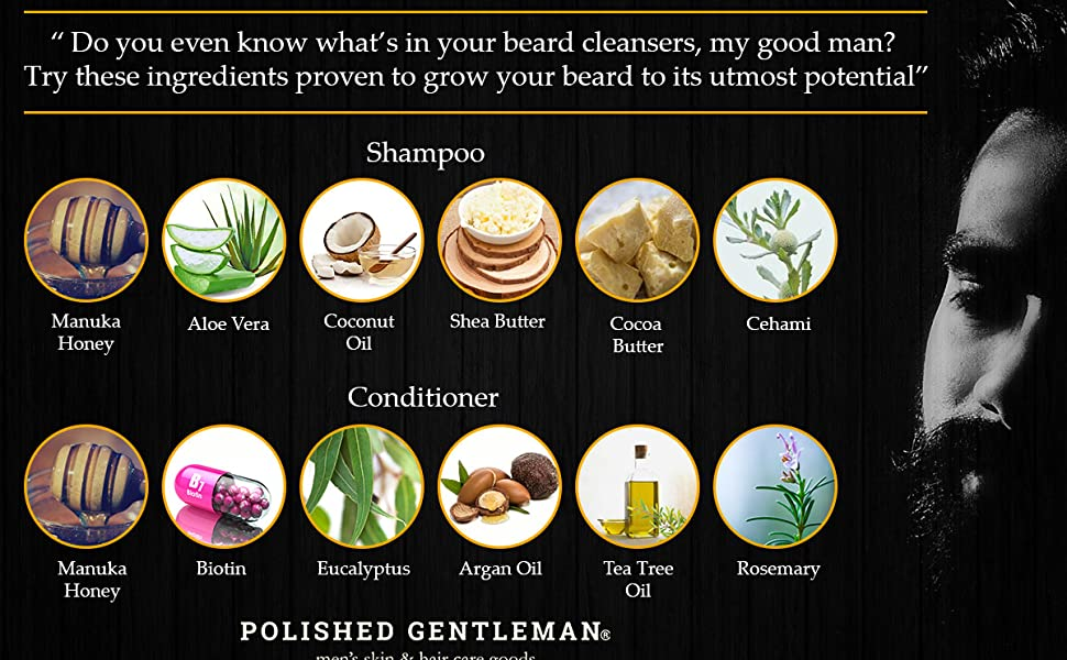 beard shampoo, beard conditioner, ingredients
