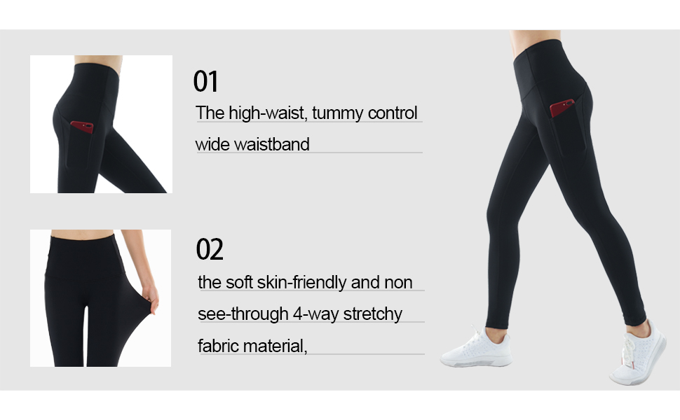 c05636eb1bc16 Amazon.com: THE GYM PEOPLE Thick High Waist Yoga Pants with Pockets ...