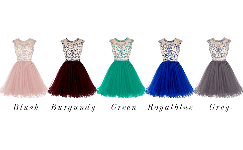 f939cc2125f3 ALAGIRLS Beading Homecoming Dresses Above Knee Tulle Prom Cocktails Party  Gowns Hollow Back