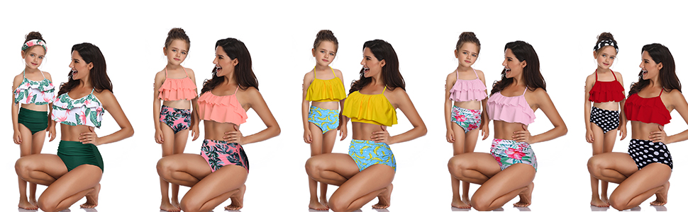a7a3266694 Amazon.com: Qunlei Mommy and Me Swimsuits Family Matching Two Pieces ...