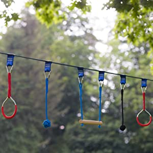 Ninja Slackline Monkey Bars Kit, 42 Jungle Gym Obstacle Course for Kids and Adults + Climbing Rope, Warrior Training Obstacle Course Equipment, ...