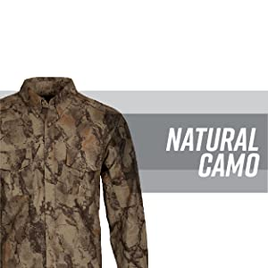 Camo long sleeve against a white background with gray stripe behind; text reads: natural camo.