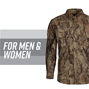 Side view of camo button-down shirt with grey stripe behind; text reads: for men and women.