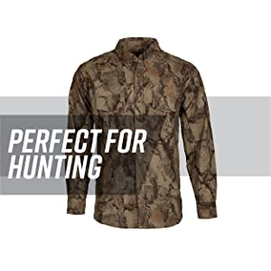 Camo button down against white background, gray stripe behind; text reads: perfect for hunting.