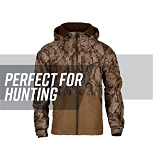 25bbd0d353f22 Camo waterfowl jacket against white background, gray stripe behind; text  reads: perfect for