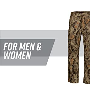 8bde9f740acc3 6-Pocket camo hunting pants with gray stripe behind; text reads: for men