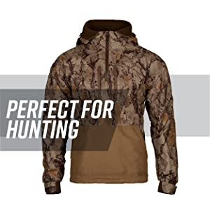 c68dd9639cba1 Waterfowl jacket against white background, gray stripe behind; text reads:  perfect for hunting. Camo ...