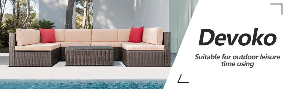Amazon.com: Devoko - Conjunto de muebles de patio para ...