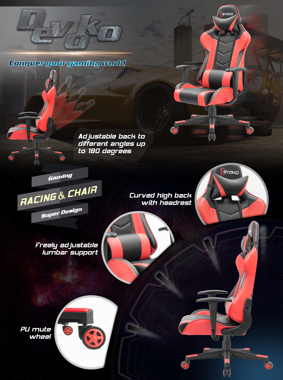 gaming chair  Devoko Ergonomic Gaming Chair Racing Style Adjustable Height High-Back PC Computer Chair with Headrest and Lumbar Support Executive Office Chair (Red) 4d5684b5 9b68 44e4 88fb 8762b988a1e0
