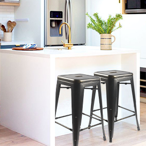Picture Your Home In Your Way, Stylish Design Tolix Black And Antique Gold  Metal Stools, Enjoy Comfortable Life! ➤Perfect For Indoor/Outdoor Use