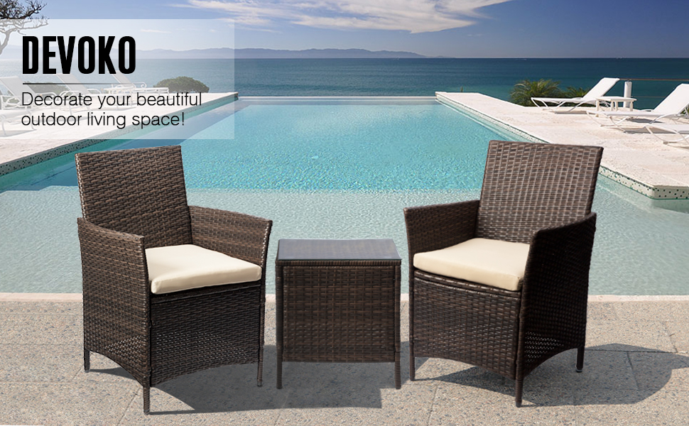 Amazon.com: Devoko Patio Porch Furniture Sets 3 Pieces PE Rattan Wicker Chairs Beige Cushion