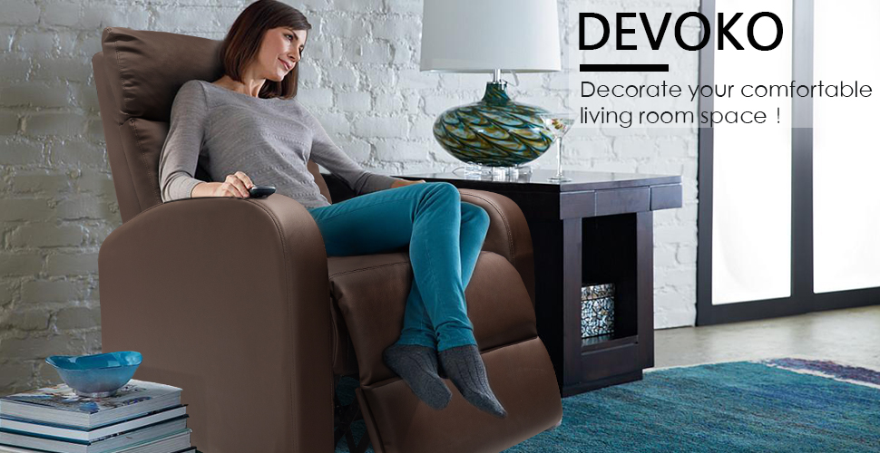 Phenomenal Devoko Adjustable Single Recliner Chair Pu Leather Modern Living Room Chair Padded Cushion Reclining Sofa For Home Theater Seating Brown Customarchery Wood Chair Design Ideas Customarcherynet