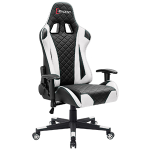 1  Devoko Racing Style Gaming Chair Height Adjustable Swivel PC Computer Chair with Headrest and Lumbar Support Leather Reclining Executive Office Chair (White) a470c3e8 6cdc 41fe 8f9e 8ef7a4e1abe2