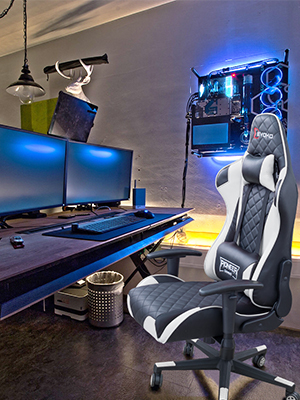 RACING  Devoko Racing Style Gaming Chair Height Adjustable Swivel PC Computer Chair with Headrest and Lumbar Support Leather Reclining Executive Office Chair (White) b2e3b8b1 838c 469a a53f 9e8ab9d52d8c