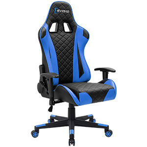 2  Devoko Racing Style Gaming Chair Height Adjustable Swivel PC Computer Chair with Headrest and Lumbar Support Leather Reclining Executive Office Chair (White) d83b83c3 52b4 4331 85cb cbe271e0e00a
