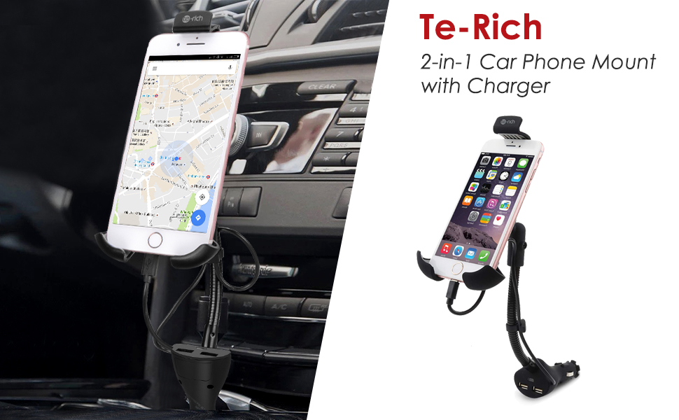 Te-Rich 2-in-1 Cigarette Lighter Smartphone Car Mount Charger Auto Cell Phone Holder Cradle - Built-in Charging Cable Compatible w/iPhones - Dual USB, ...