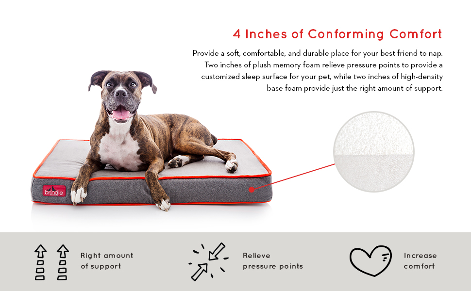 Brindle 4 inch orthopedic designer pet bed