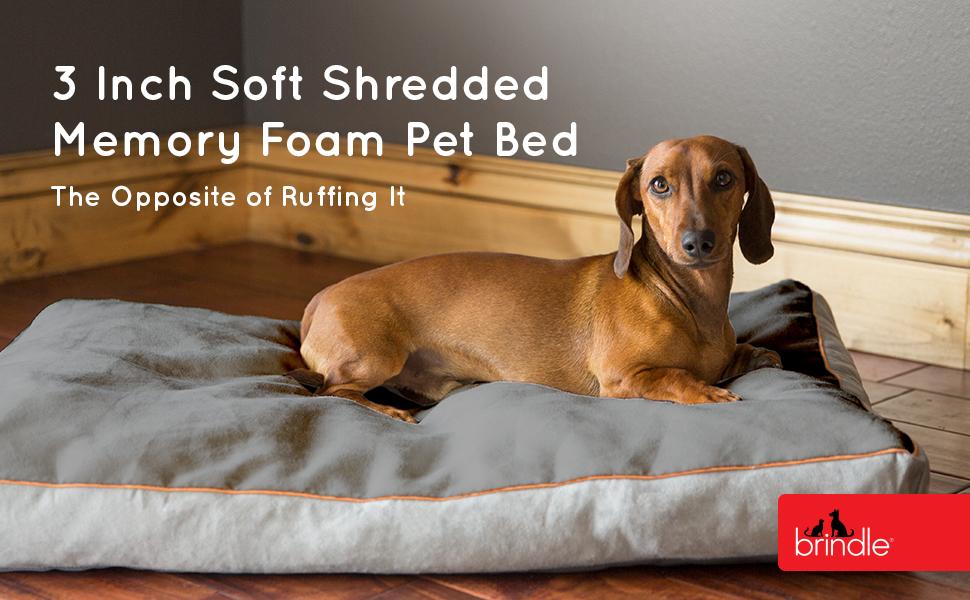 Brindle 3 inch shredded memory foam pet bed