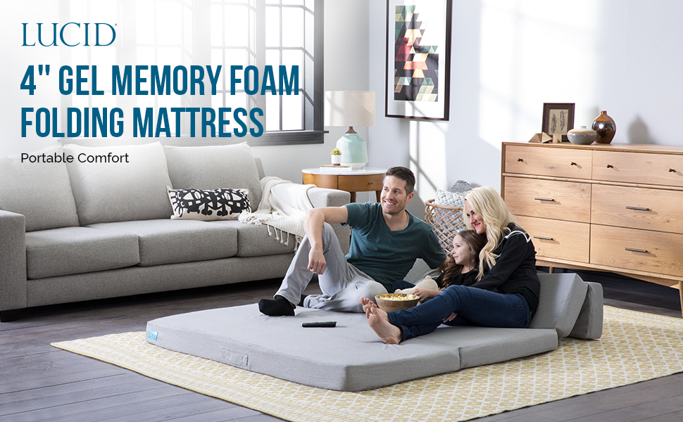 Marvelous Lucid Lu04Ttfsgf2 4 Folding Mattress And Sofa With Fabric Cover Twin Gray Unemploymentrelief Wooden Chair Designs For Living Room Unemploymentrelieforg