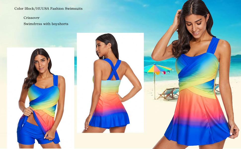 89c31c4f05 HUUSA Fashion 2 Pieces Tankini Swimsuits Color Block Swimdress with  Boyshorts