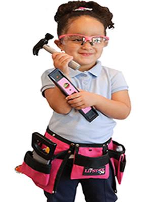 kids pretend play pink toolbelt imagination construction kit