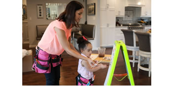 mommy n me matching pink toolbelt painting fun coloring