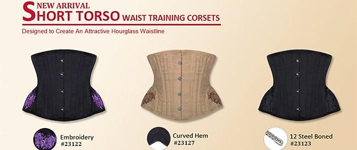 950224fd84 Burvogue Women Short Torso Corset Underbust Steel Boned Waist Trainer