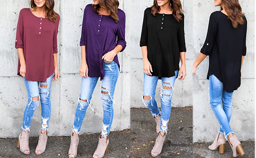 c69861f4676 Bluetime Women's 3/4 Cuffed Sleeve Button Up Flowy Tunic Tops Casual Loose  Fit Long Blouses Shirts