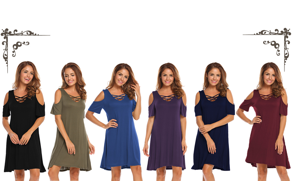 short sleeve dresses for women criss cross neckline