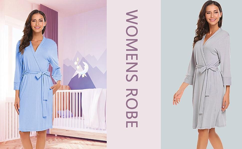 f4c3dac3c2579 Bluetime Women Robe Soft Kimono Robes Cotton Bathrobe Sleepwear Loungewear  Short. 1. Comfortable and lightweight robe, with loose belt, you can slip  the ...