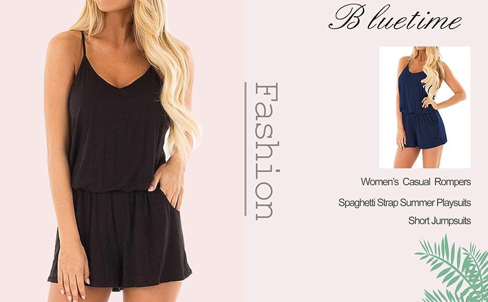 409e8d49c4 BLUETIME Womens Short Rompers Summer Casual Beach Spaghetti Strap Jumpsuits  Outfits