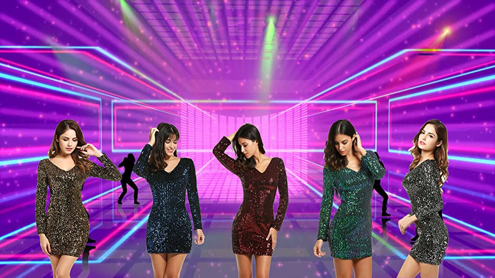 d3595121b0c Bluetime Women s V Neck Long Sleeve Sequined Cocktail Party Club Evening  Mini Dress