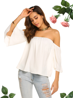 Womens Bell Sleeve Chiffon Off Shoulder Floral Tops T-Shirt Ladies Summer Blouse