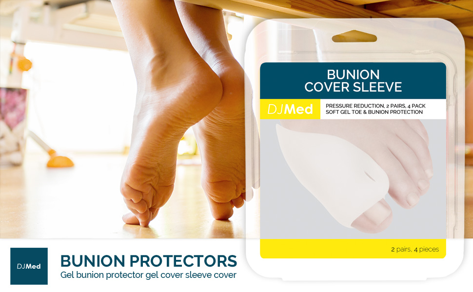DJMed gel bunion sleeve protector pads help prevent discomfort by cushioning toe and bunions against pressure and friction from footwear.