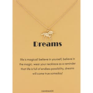 Cute unicorn dreams pendant necklace, gold color with reminder message card