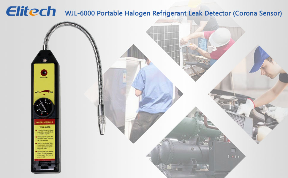 Elitech WJL-6000 Freon Leak Detector Halogen Leak Detector Refrigerant Gas  Leakage Tester HVAC Air Condition R22 R410A R134A CFCs HCFCs HFCs Detects