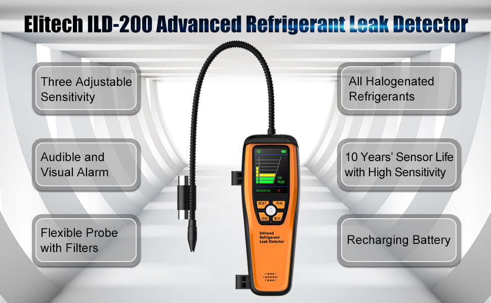 Elitech ILD-200 Advanced Refrigerant Leak Detector Halogen Leakage Tester Checker High Sensitivity Portable Case 10 Years Life