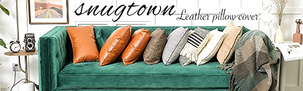 snugtown leather pillow cover 12 20 18 18 inch
