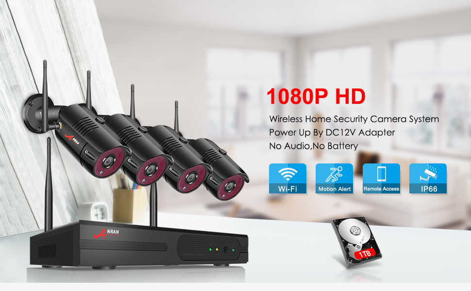 Wireless Home Security Cameras System,4CH 1080P HD NVR Outdoor Surveillance System with 2MP Outdoor IP Security Cameras, P2P Wifi NVR Kits, Night ...