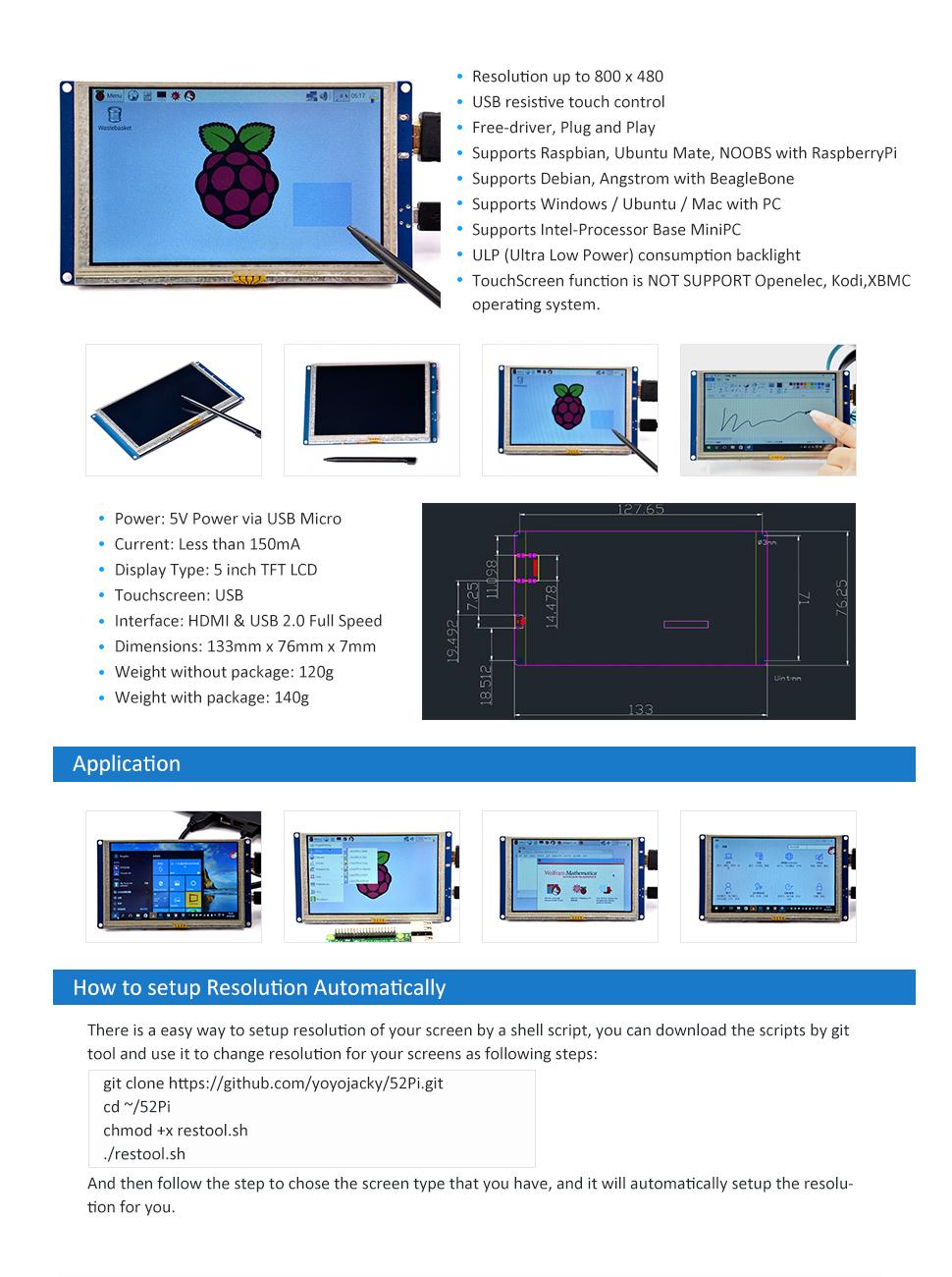 GeeekPi 5 inch HDMI Monitor LCD Resistive Touch Screen 800x480 LCD Display  USB Interface for Raspberry Pi 3/2 Model B/B+ & Banana Pi (Plug and Play