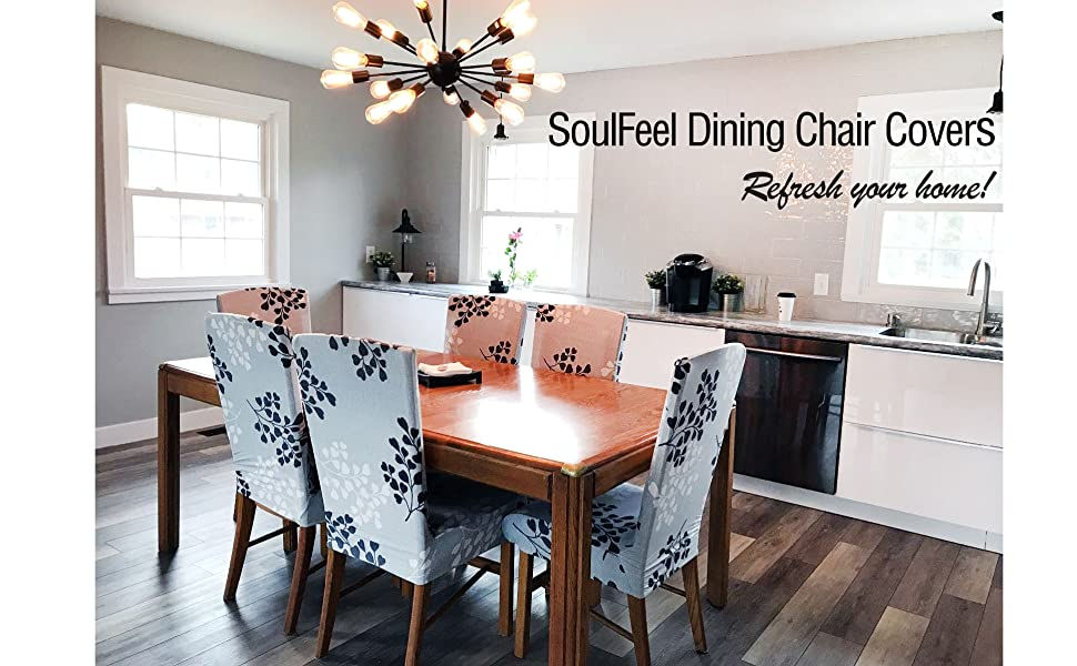 Amazon Com Soulfeel Set Of 6 X Stretchable Dining Chair Covers Spandex Chair Seat Protector Slipcovers For Holiday Banquet Home Party Hotel Wedding Ceremony Style 34 Floral Home Kitchen