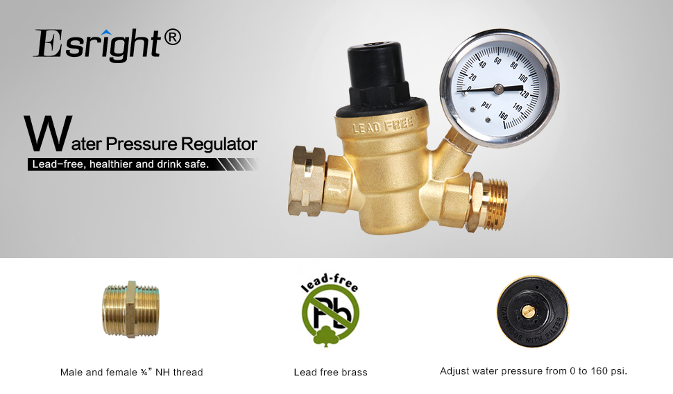Amazon.com: Esright Brass Water Pressure Regulator Lead-free with ...