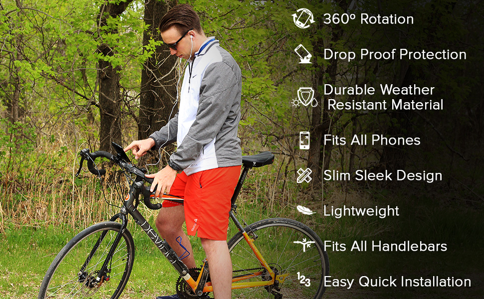 Soporte para tel/éfono m/óvil de bicicleta de monta/ña con rotaci/ón de 360 grados color negro SOONHUA